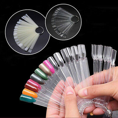 50 X Nail Art Tips Colour Pop Stick Display Fan Practice Starter Ring 4 Colours