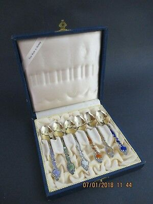Th Marthinsen Gold Wash Sterling And Enamel Demitasse Spoons - Boxed