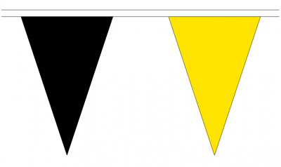 Black & Yellow 20M Triangle Flag Bunting - Large 54 Flags - Triangular