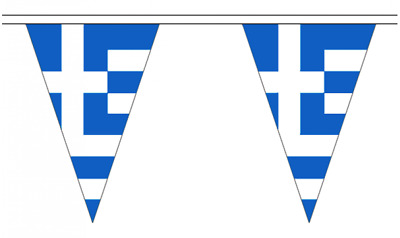 Greece 20M Triangle Flag Bunting - Large 54 Flags - Triangular