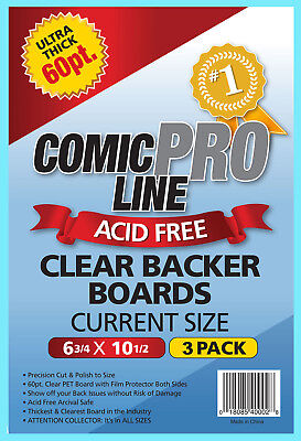 3 COMIC PRO LINE Crystal CLEAR CURRENT SIZE 60pt BACKER BOARDS Backing Acid Free