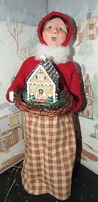 Byers Choice Caroler Woman with Gingerbread House on a Tray 2012  *