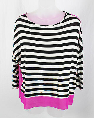 Red Haute Women's Black White Hot Pink Striped Sheer Back Shirt Top Size XS