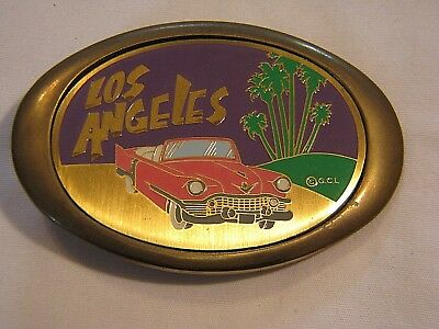 80's NEW-OLD SOLID BRASS LOS ANGELES SOUVENIR BELT BUCKLE