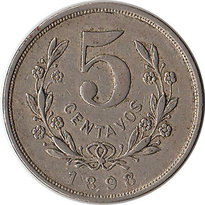 1898 Nicaragua 5 Centavos Coin KM#8 One Year Type