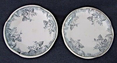 Two Johnson Bros Brothers Butter Pats, HOP Pattern, Blue/Gray Flowers & Vines