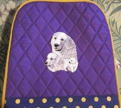 Quilted Fabric Lunch Bag GREAT PYRENEES Dog Breed PURPLE Insulated Lunch Sack