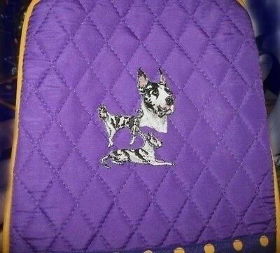 Quilted Fabric Lunch Bag GREAT DANE HARLEQUIN Dog PURPLE Insulated Lunch Sack