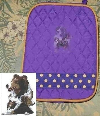 Quilted Fabric Lunch Bag SHELTIE SHETLAND Dog Breed PURPLE Insulated Lunch Sack