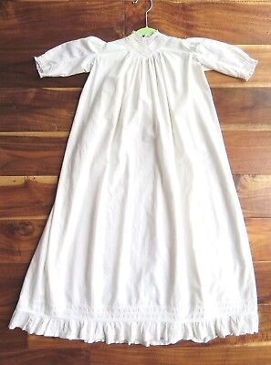 Antique long white cotton CHRISTENING GOWN Vintage Boy Girl Lace Trim Baby