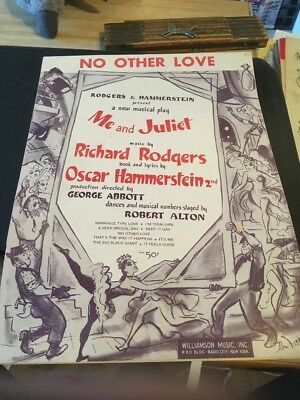 Vtg Sheet Music No Other Love Me And Juliet Rodgers Hammerstein 1953