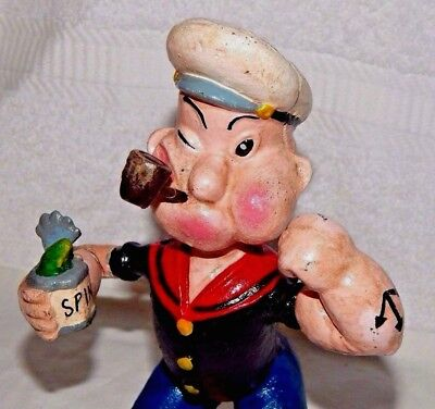 """POPEYE w SPINACH CAN & PIPE CAST IRON BANK FIGURINE 9"""" Exc Heavy Door Stop"""