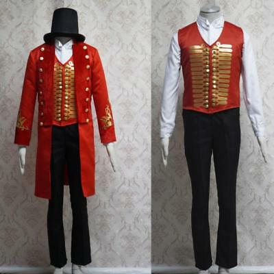 Men New Knee Long Coat Double Breasted Vest Pants Costume Club Outfits Hat Suits