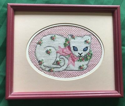 """Vintage Framed Cross Stitch Cat, Siamese with Flowers, 10.5"""" x 8.5"""""""