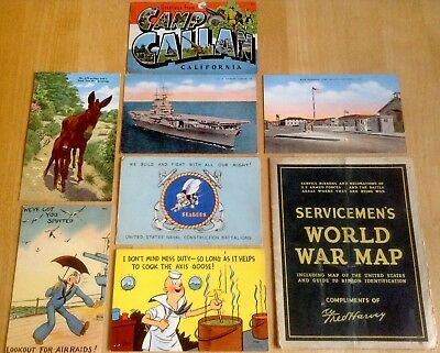 Fred Harvey Servicemen's World War Map + 7 WWII Post Cards