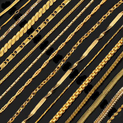 Men Women 18K Gold Plated Figaro Cuban Link Snake Chain Chains Necklace Jewelry