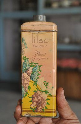 Vintage Lilac Talcum Powder Ad Litho Tin Box , USA