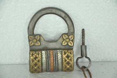 Old Iron Handcrafted Unique Solid Brass & Copper Fitted Screw Padlock