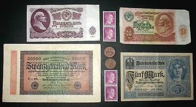 German Reich Wwii Coins & Stamps! German & Russian Banknotes! (F-1)