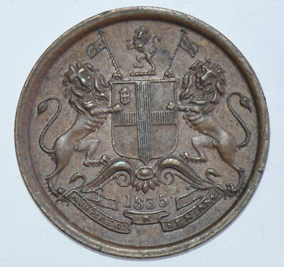 INDIA BRITISH EAST INDIA COMPANY, 1/12th ANNA, 1835 BOMBAY MINT COPPER COIN AU