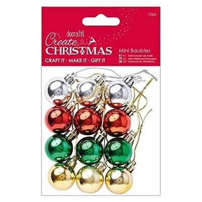 Mini Baubles 12pk - Create Christmas Papermania Craft Festive Assorted Pk
