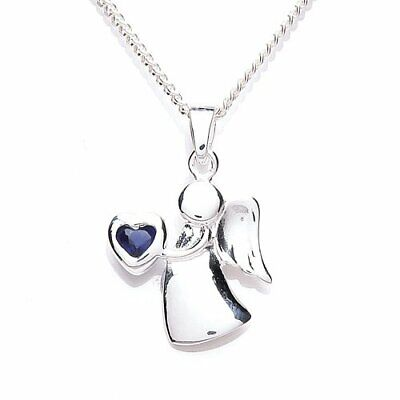 Sterling Silver & Sapphire CZ Birthstone Angel Necklace 14 - 32 Inches