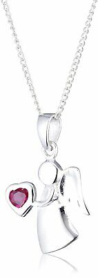 Sterling Silver & Ruby CZ Birthstone Angel Necklace 14 - 32 Inches