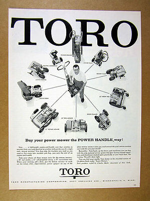 1957 Toro Power Handle lift-off engine mower 10 Attachments vintage print Ad