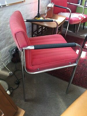 Mid Century Italian Chrome And Red Chair