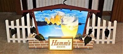 1960s HAMM'S Beer 5 FLYING GOBLETS In Sky Brick House SIGN w/ Fences (Minty!)