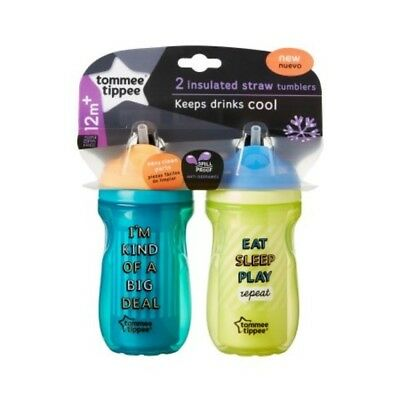 Tommee Tippee Insulated Tumbler Straw Sippy Cup - 2 pack