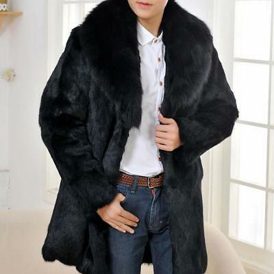 Business Luxury fur Long Jackets Coats Overcoat Outwear Parka Warm Mens Hot SZ
