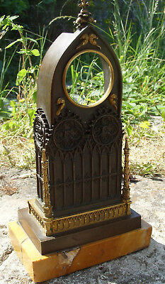 19th century French neo-Gothic pocket watch stand in patinated and gilded bronze