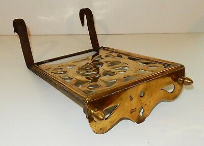 Antique English Ornate Brass Hanging Fireplace Trivet England