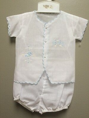 Will'beth Baby White and Blue 0-3 Months Diaper Set