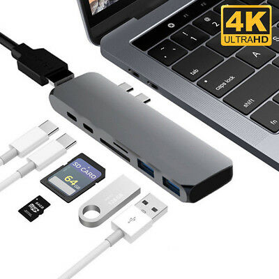 7in1 USB-C Hub Dual TypeC Multiport Adapter Card Reader HDMI For MacBook Pro lot