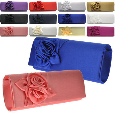 Ladies Rose Bouquet Pattern Satin Clutch Bag Evening Party Prom Bridal Handbag