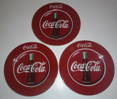 """3 Coca Cola 7-5/8"""" Lunch Plates Red & White 1996 by Gibson Housewares 50's Style"""