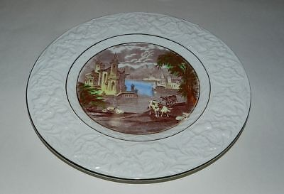 MALING SERVING PLATE - OLD - NEWCASTLE ON TYNE - GOLD RIM - Castle, Cows & Sheep