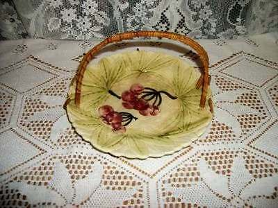 Vintage Majolica Cherries Plate Wicker Handle Chic Shabby Cottage Japan
