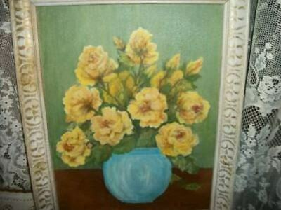 Mcm Yellow Roses Oil Painting Creamy French Wood Frame Chic Shabby Cottage
