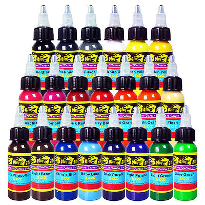 Solong Tattoo Tinta 21 Colores Set Botella 30ML Kit Tatuaje Pigmento TI301-30-21