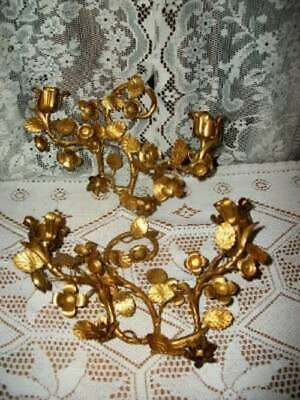 Italian Tole Gilt Lush Floral Sconces Chic Shabby Awesome Mcm Hollywood Regency
