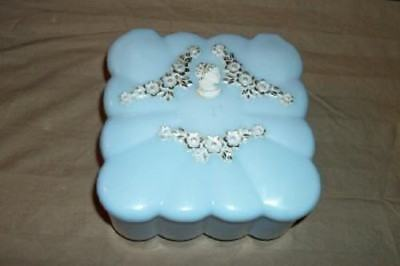 Vintage Menda Lucite Powder Box Puff Cameo Blue Footed Chic Shabby Mcm Cottage