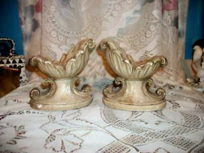 Vintage Old Shabby Chippy Plaster Candle Holders Old French Cottage Chic