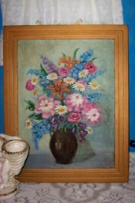 HOLLYWOOD REGENCY MCM 30s CHIC ROSES FLORALS OIL PAINTING SHABBY COTTAGE CHIPPY