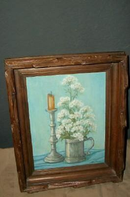 Vintage Floral Oil Painting Pewter Carved Victorian Frame Chic Shabby Cottage