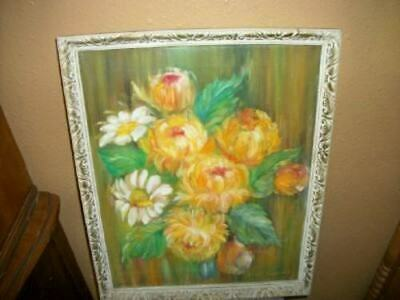 MID CENTURY FLORAL OIL PAINTING ORNATE Frame Orange Yellow Roses Chic VINTAGE