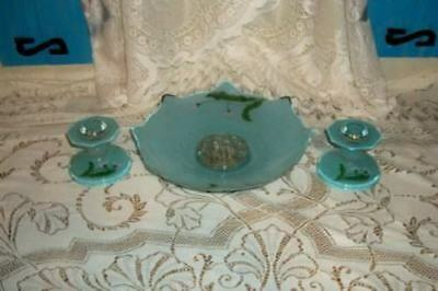 Antique French Blue Opaline Bristol Glass Bowl Candle Holders Set Hp Floral