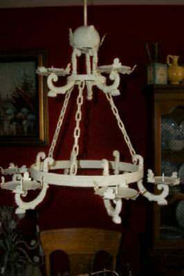 Antique French Tole Chandelier Candelier Creamy Chippy Iron Chateau Chic Shabby